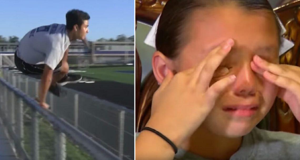 לבת היה מופע בבית הספר. לפתע, אדם צעיר קפץ מעל הגדר ורץ לכיוונה