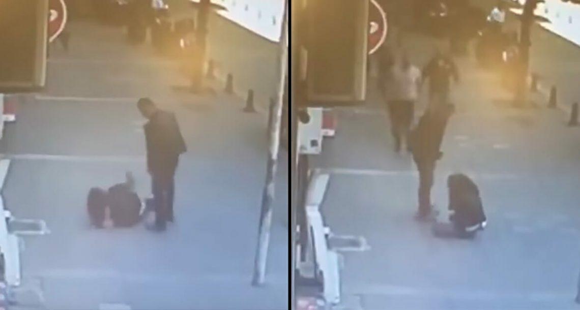 אדם הכה את אישתו לשעבר לאור יום: שניות אחר כך קארמה הכתה בכל עוצמתה