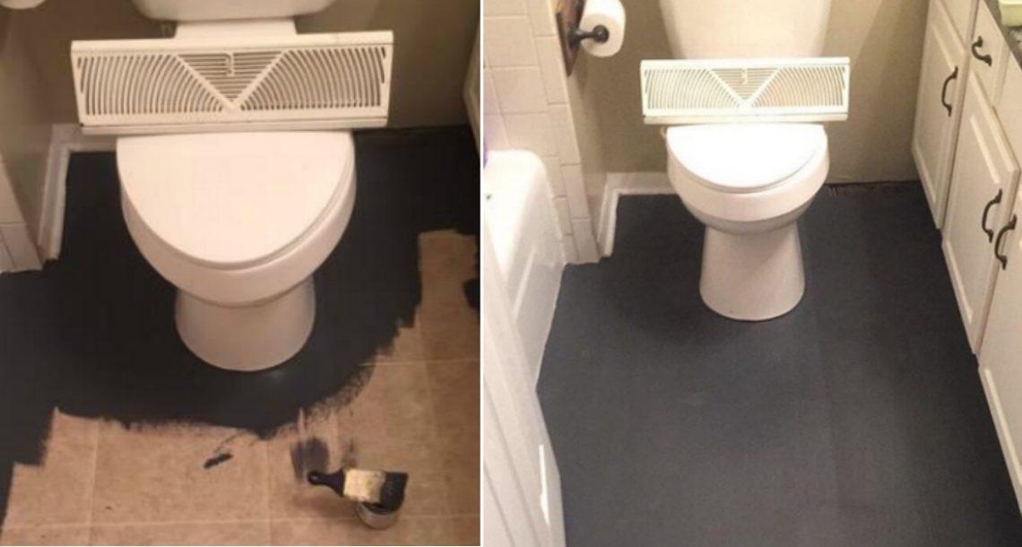 אישה הדהימה כוכבות DIY בכל העולם כשהחליפה את רצפת השירותים עם צבע שחור וציור אריחים מזויפים