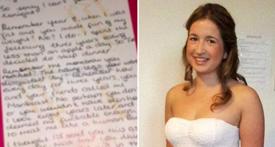 לואיזה הייתה קורבן להתעללות יומיומית בבית הספר – 10 שנים אחר כך, המתעלל שלה קיבל מכתב במסעדה