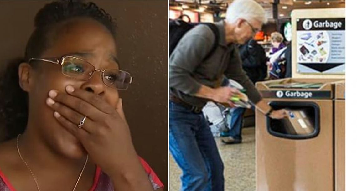 אישה ראתה אדם בוכה שהכריחו אותו לזרוק מתנה בפח בשדה התעופה – מה שהיא הוציאה מהאשפה שבר לה את הלב