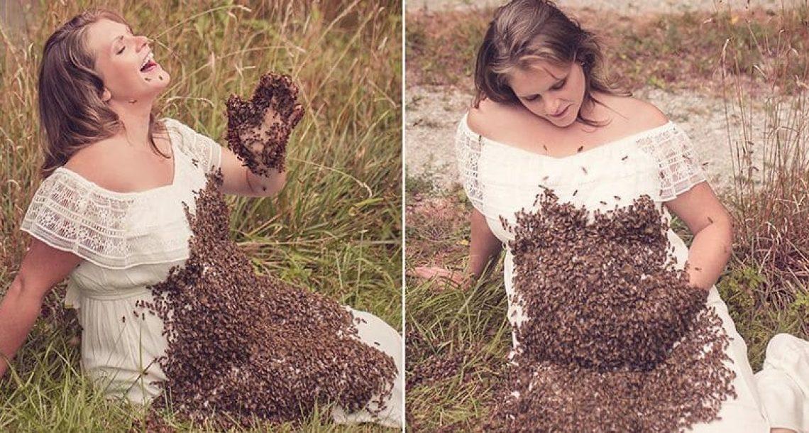 אמא בהריון הצטלמה עם נחיל דבורים על הבטן – 6 ימים לפני הלידה הלב שלהם נשבר לרסיסים