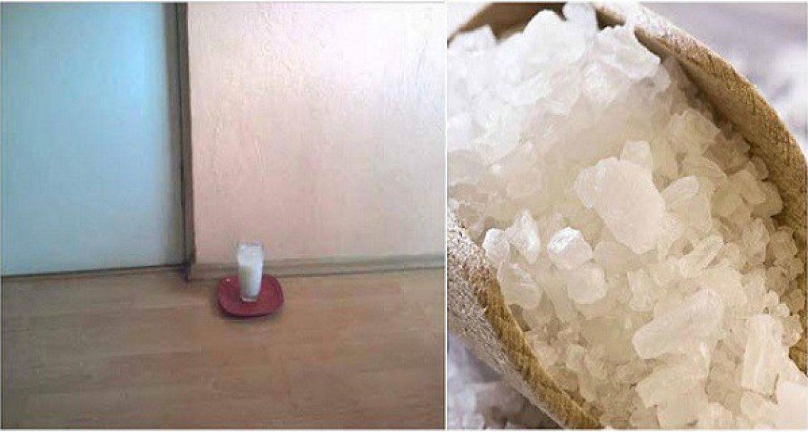 הניחו כוס מים עם מלח גס וחומץ בפינות הבית: אחרי 24 שעות אתם תופתעו מאוד ממה שיקרה
