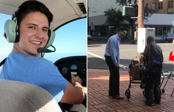 אדם צעיר עצר בפתאומיות איש זקן ברחוב – ואז הצביע על משהו מאחורי הגב שלו