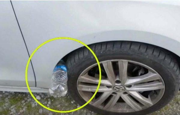 אזהרה לגבי טריק חדש ואיום: אם אתם רואים בקבוק פלסטיק על צמיג הרכב שלכם, יתכן ואתם בסכנה