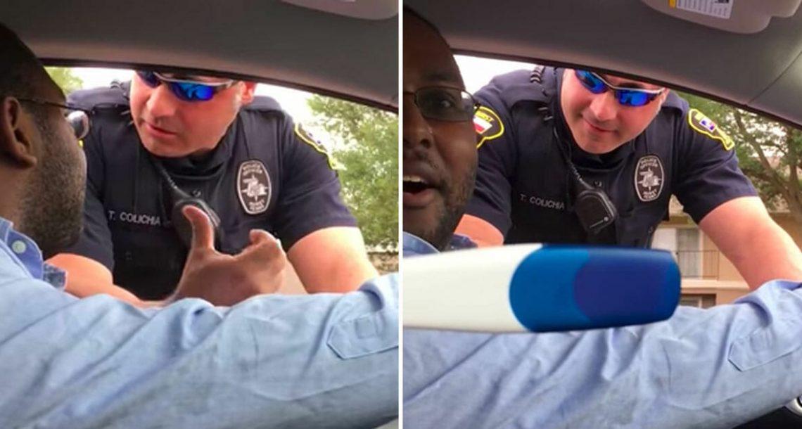 שוטר עצר גבר בגלל שנהג עם תינוק אבל בלי כיסא בטיחות, היה בשוק כשראה מה אישתו מחזיקה בידיים