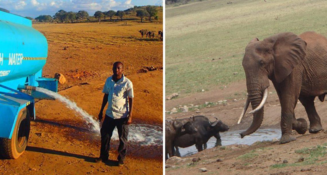 הבחור הזה נוסע מספר שעות בכל יום כדי לספק מים לחיות הבר בזמן הבצורת
