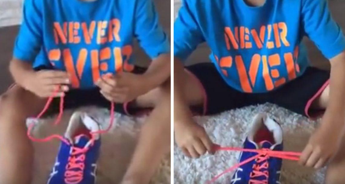 הבן שלה למד לקשור את שרוכי הנעליים שלו בניסיון אחד בזכות השיטה הנפלאה הזו!