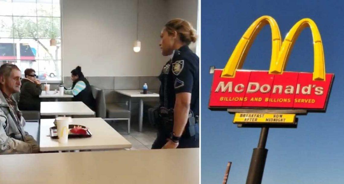 אדם קנה אוכל לאיש הומלס במקדונלדס – אז הגיעה שוטרת וזרקה את שניהם החוצה