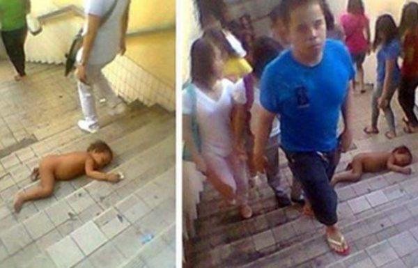 תינוק ללא בגדים שכב על גרם מדרגות ברחוב סואן – אך התגובה של האנשים השאירה אותי בדמעות