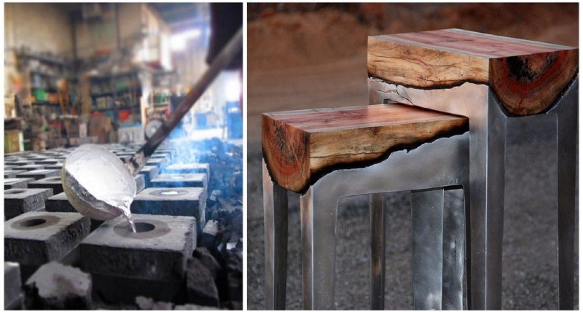 תשפכו מתכת נוזלית על עץ ותוכלו להכין רהיטים מטורפים לגמרי
