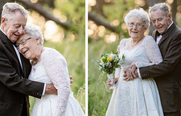 בעל ואישה שנשואים 60 שנים שחזרו את תמונות החתונה שלהם בסשן צילומים מופלא ומחמם לב