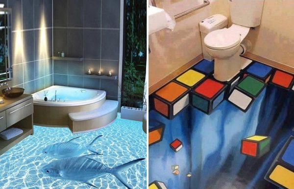 ציורי קיר הם נפלאים, אבל רצפות התלת מימד האלה הופכות את האמבטיה לחוויה מטורפת לחלוטין!