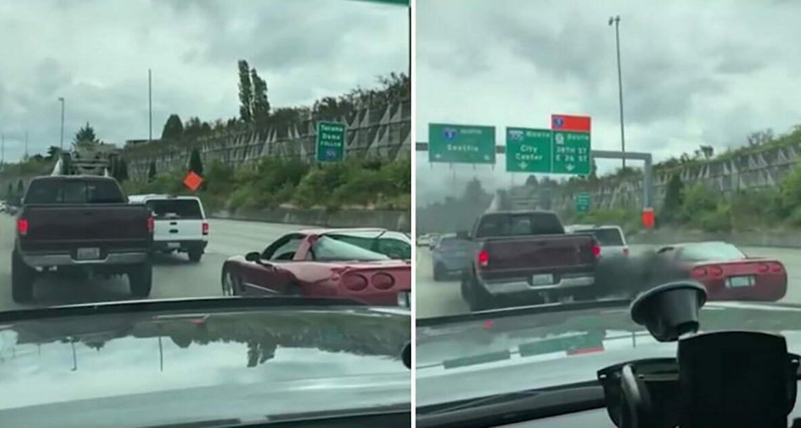 נהג מכונית ספורט סירב לתת לטנדר להיכנס לנתיב – עכשיו צפו בטנדר משיג את הנקמה האולטימטיבית