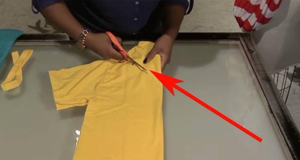 היא החלה לחתוך חולצת טי שרט צהובה. אבל דקות אחר כך…אני חייבת לנסות את זה!