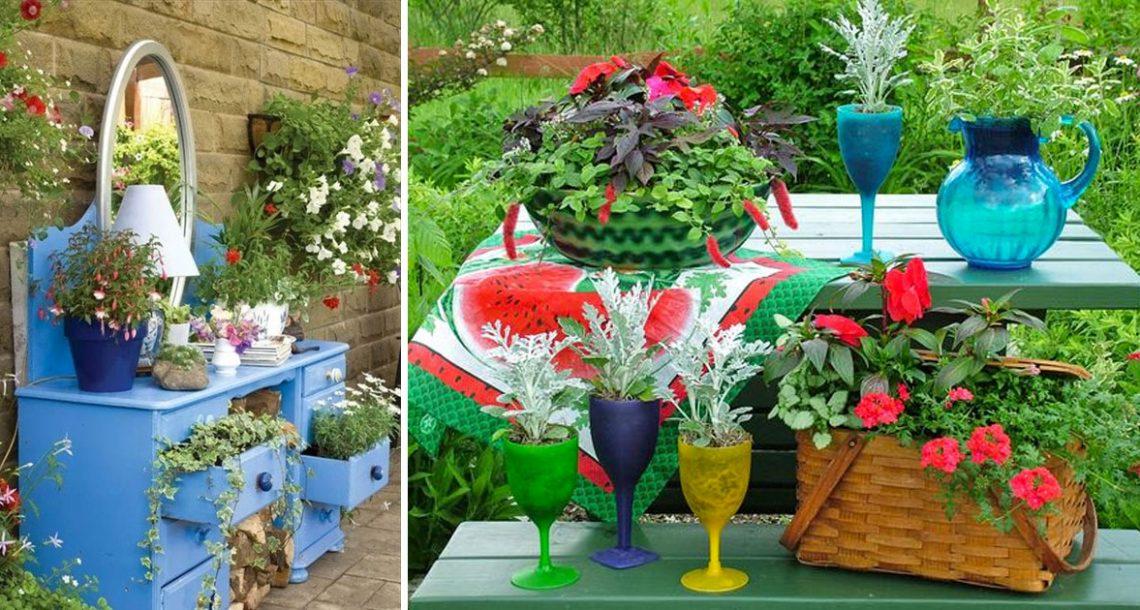 19 דרכים מקוריות לשימוש מחדש של פריטים ישנים בתור קישוטים לגינה